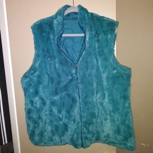 Free Country XXL Teal Faux Fur Reversible Vest